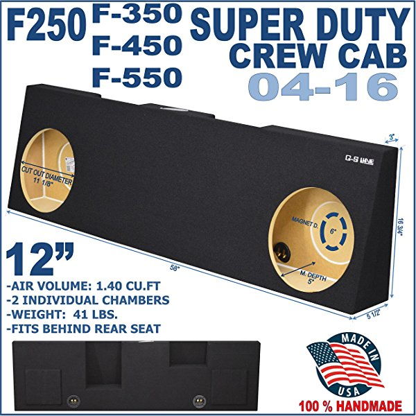 04-15 Ford F250 Super Duty Crew Cab Sub Box Subwoofer Enclosure Ground-Shaker