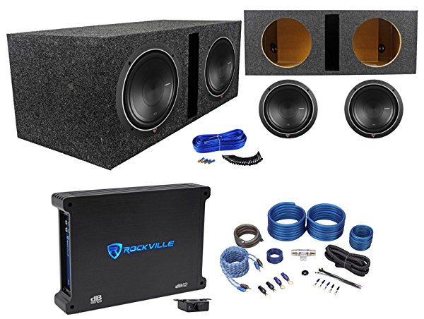 2) Rockford Fosgate P1S2-10 10' Car Subwoofers+Vented Box+500W Amplifier+Amp Kit