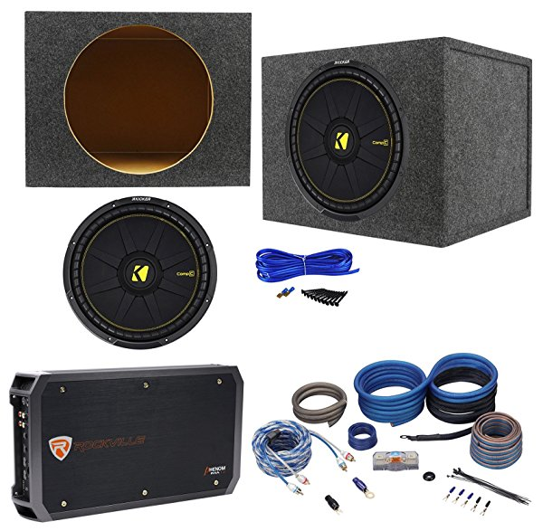 Kicker 44CWCS154 CompC 15' 1200w Subwoofer+Sealed Sub Box+Hifonics Amp+Wire Kit