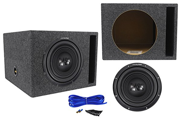 Alpine W12S4 12' 750 Watt 4-Ohm Car Audio Subwoofer + Vented Sub Box Enclosure