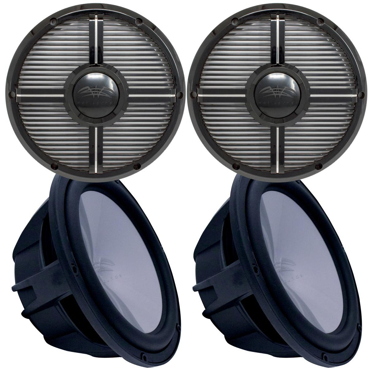 Two Wet Sounds Revo 12' Subwoofers & Grills - Black Subwoofers & Black Closed Face XW Grills - 2 Ohm