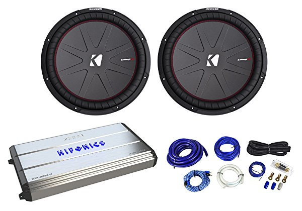 2 Kicker 43CWR154 CompR 15' 2400w Car Subwoofers+Hifonics Mono Amplifier+Amp Kit