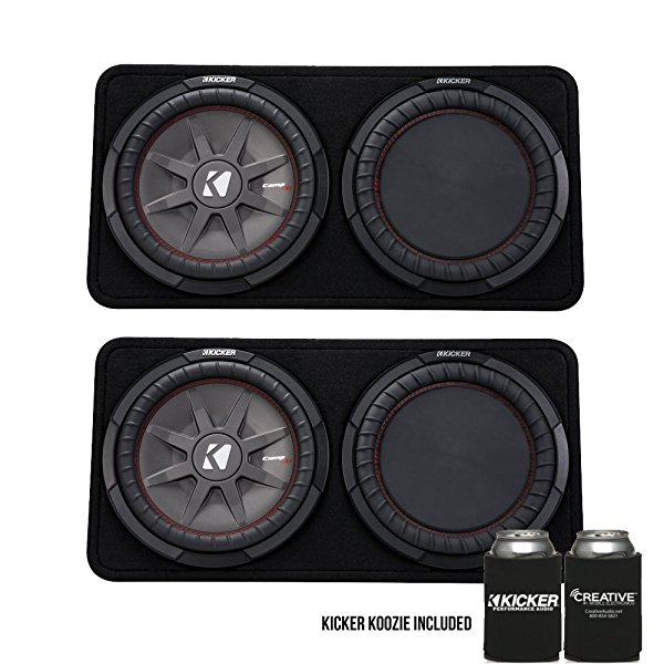 Kicker 43TCWRT124 CompRT12 12-inch (30cm) Subwoofer in Thin Profile Enclosure, 4-Ohm Bundle