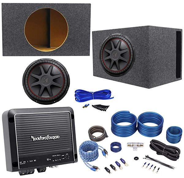 Kicker 43CVR154 1000w 15' Car Subwoofer+Vented Sub Box+Mono Amplifier+Amp Kit
