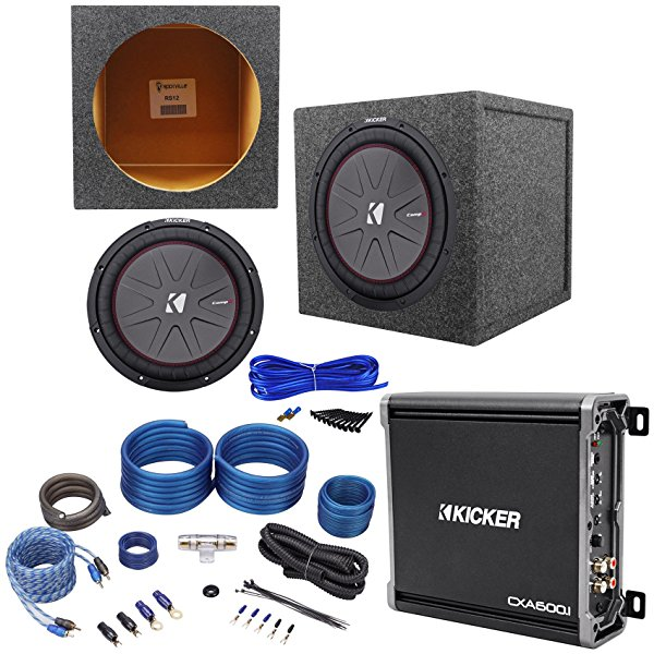 Package: Kicker 43CWR124 12' Dual Voice Coil 4-Ohm Car Stereo Sub+Mono Amp+Wire Kit W/Rca Cables+Sub Enclosure+Single Enclosure Wire Kit W/14 Gauge Speaker Wire+Screws+Spade Terminals