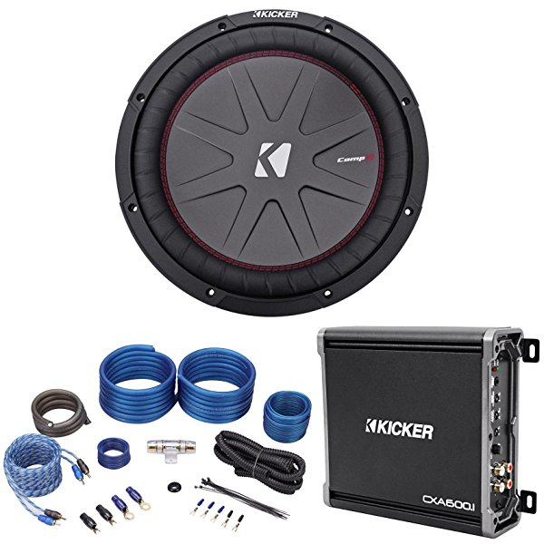Package: Kicker 43CWR124 12' Dual Voice Coil 4-Ohm Car Stereo Subwoofer Totaling 1000 Watt + Kicker 43CXA6001 600W Mono Amplifier + Rockville RWK41 Complete 4 Gauge 2 Channel Wire Kit W/Rca Cables