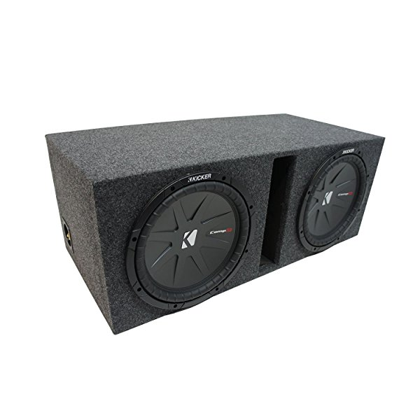 Universal Car Stereo Vented Port Dual 15' Kicker CompR CWR15 Sub Box Enclosure - Final 2 Ohm