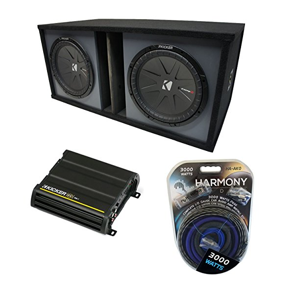 Universal Car Stereo Paintable Ported Dual 15' Kicker CompR CWR15 Sub Box Enclosure & CX1200.1 Amp