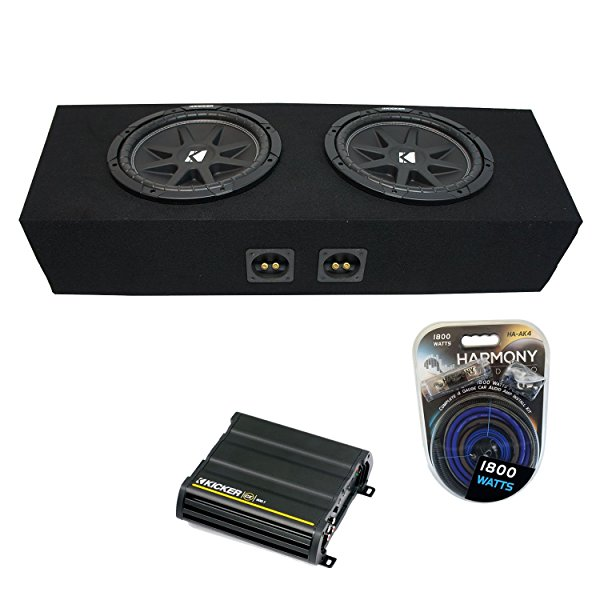 1994-2015 Ford Mustang Convertible Kicker Comp C10 Dual 10' Sub Box Enclosure & CX600.1 Amp