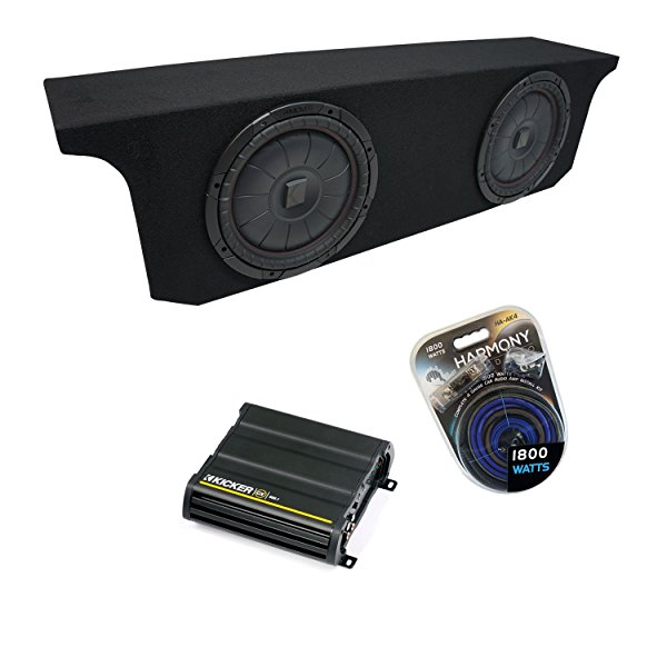 2007-2015 Jeep Wrangler JK Unlimited Kicker CompVT CVT10 Dual 10' Sub Box Enclosure & CX600.1 Amp