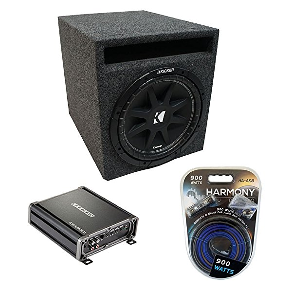Universal Car Stereo Slotted S Port Single 12' Kicker Comp C12 Sub Box Enclosure & CXA300.1 Amp