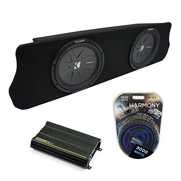 1994-2004 Ford Mustang Coupe Kicker CompR CWR12 Dual 12' Custom Sub Box Enclosure & CX1200.1 Amp