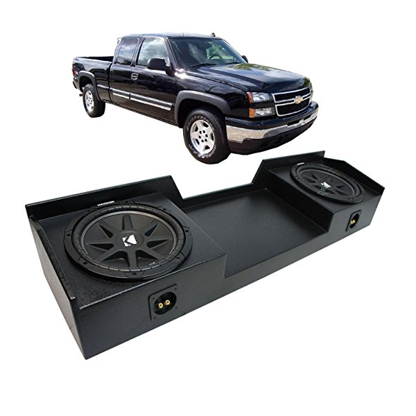 1999-2006 Chevy Silverado Ext Truck Kicker Comp C12 Dual 12' Rhino Coated Sub Box - Final 2 Ohm