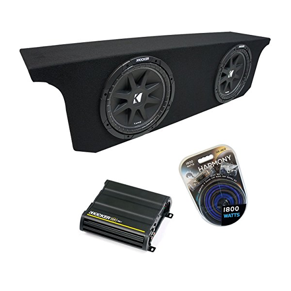 2007-2015 Jeep Wrangler JK Unlimited Kicker Comp C12 Dual 12' Sub Box Enclosure & CX600.1 Amp
