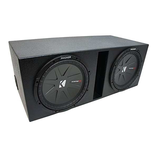 Universal Car Stereo Rhino Coated Ported Dual 12' Kicker CompR CWR12 Sub Box Enclosure - Final 2 Ohm