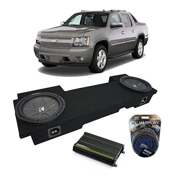2002-2013 Chevy Avalanche Underseat Kicker CompR CWR12 Dual 12' Sub Box Enclosure & CX1200.1 Amp