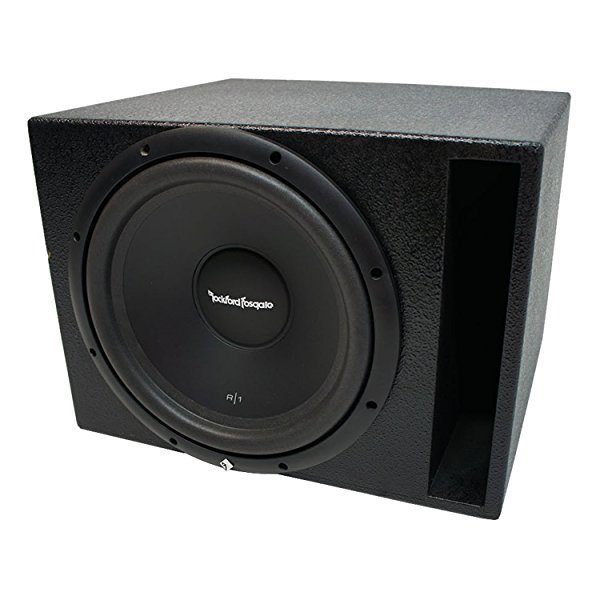 Universal Car Stereo Rhino Coated Ported 10' Rockford Prime R1S410 Sub Box Enclosure - Final 4 Ohm