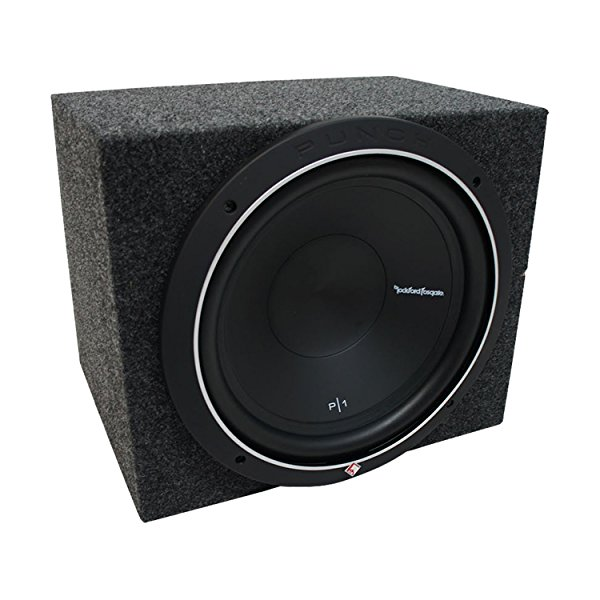 Universal Car Stereo Rearfire Sealed Single 10' Rockford Punch P1S210 Sub Box Enclosure - Final 2 Ohm