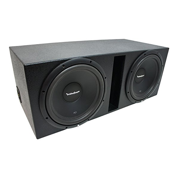 Universal Car Stereo Rhino Coated Ported Dual 12' Rockford Prime R1S412 Sub Box Enclosure - Final 2 Ohm