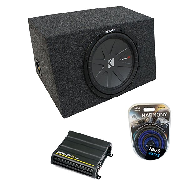 Universal Car Stereo Hatchback Sealed Single 10' Kicker CompR CWR10 Sub Box Enclosure & CX600.1 Amp
