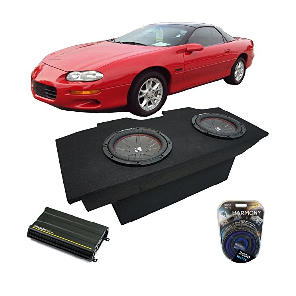 1993-2002 Chevy Camaro Coupe Kicker CompR CWR10 Dual 10' Sub Box Enclosure Package & CX1200.1 Amp