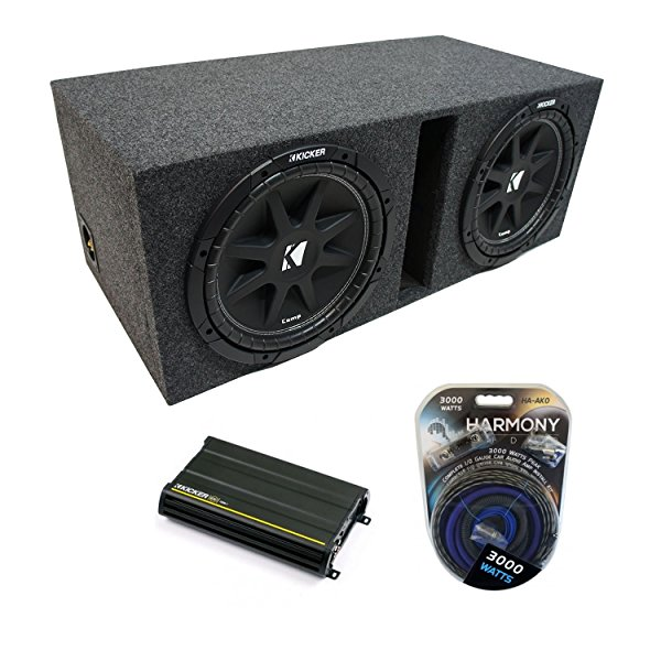 Universal Car Stereo Vented Port Dual 15' Kicker Comp C15 Sub Box Enclosure & CX1200.1 Amp