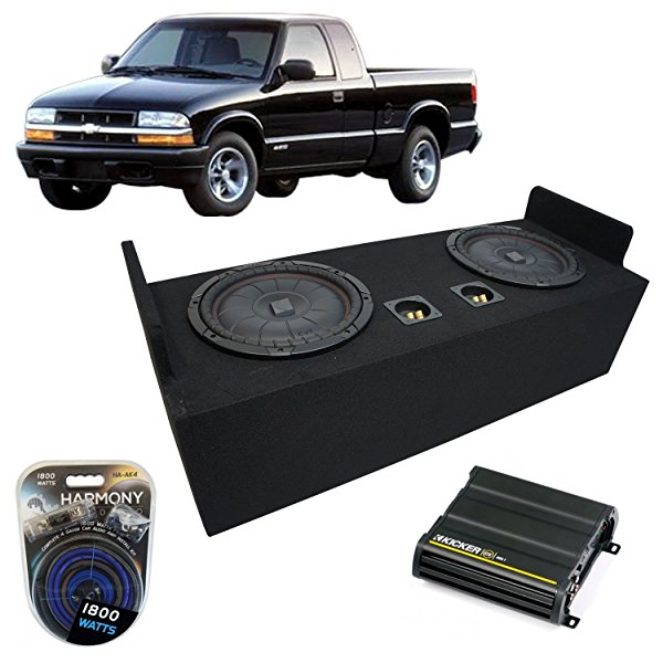 1982-2004 Chevy S-10 Extended Cab Truck Kicker CompVT CVT12 Dual 12' Sub Box Enclosure & CX600.1 Amp