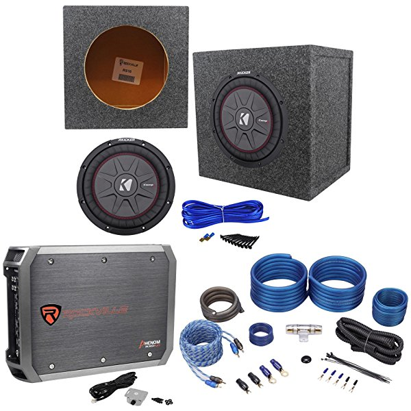 Kicker 43CWRT102 COMPRT10 800W 10' Subwoofer+Sealed Box+Mono Amplifier+Amp Kit