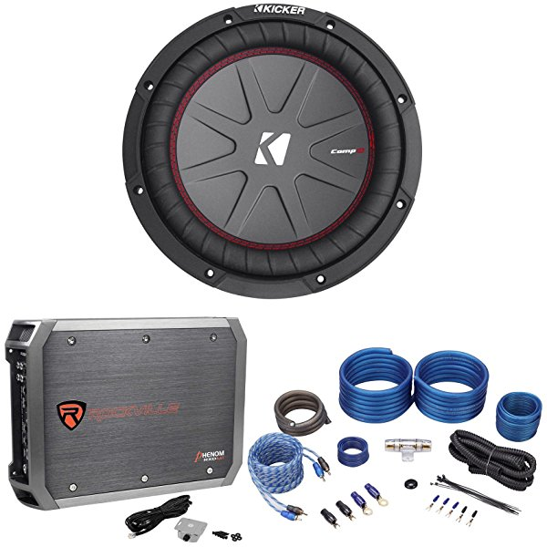 Kicker 43CWR102 COMPR10 10' 800 Watt Car Audio Subwoofer+Mono Amplifier+Amp Kit