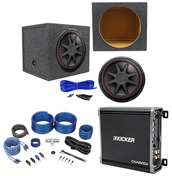 Kicker 43CVR154 COMPVR 15' 1000W Car Subwoofer+Sealed Box+Mono Amplifier+Amp Kit