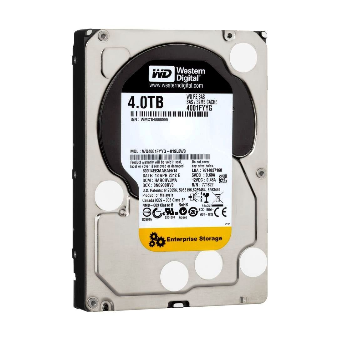 WD RE SAS 4 TB Enterprise Hard Drive: 3.5 Inch, 7200 RPM, SAS, 32 MB Cache - WD4001FYYG