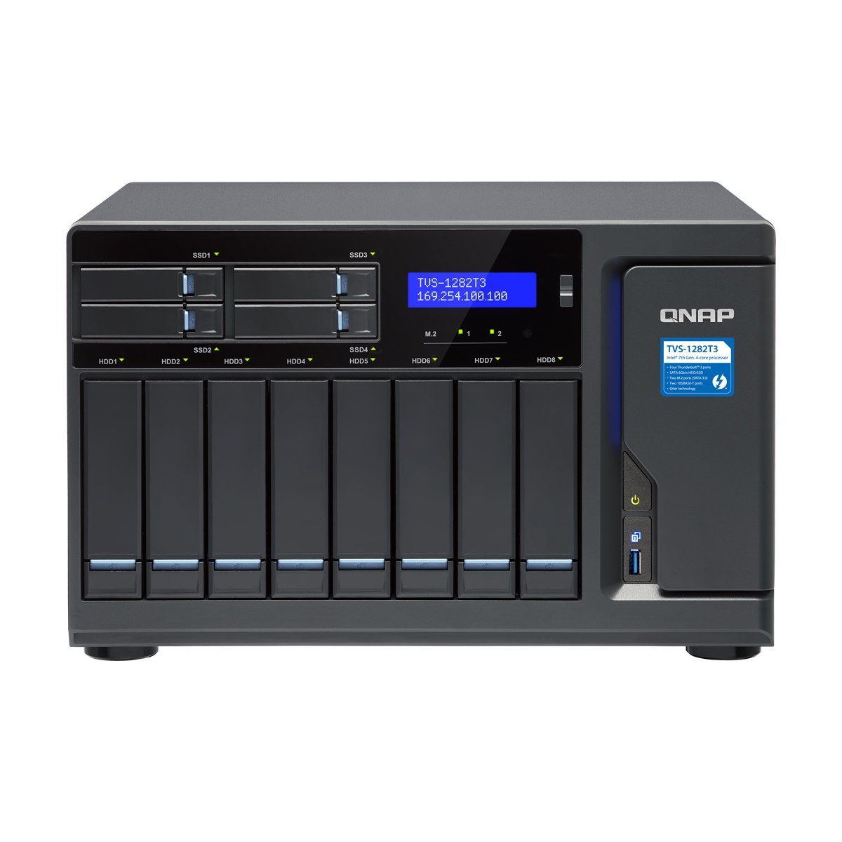 Qnap TVS-1282T3-i7-32G-US Ultra-High Speed 12 bay (8+4) Thunderbolt 3 NAS/iSCSI IP-SAN. Intel 7th Gen Kaby Lake Core i7 3.6GHz Quad Core, 32GB RAM, Thunderbolt3 port x 4 and 10Gbase-T x 2