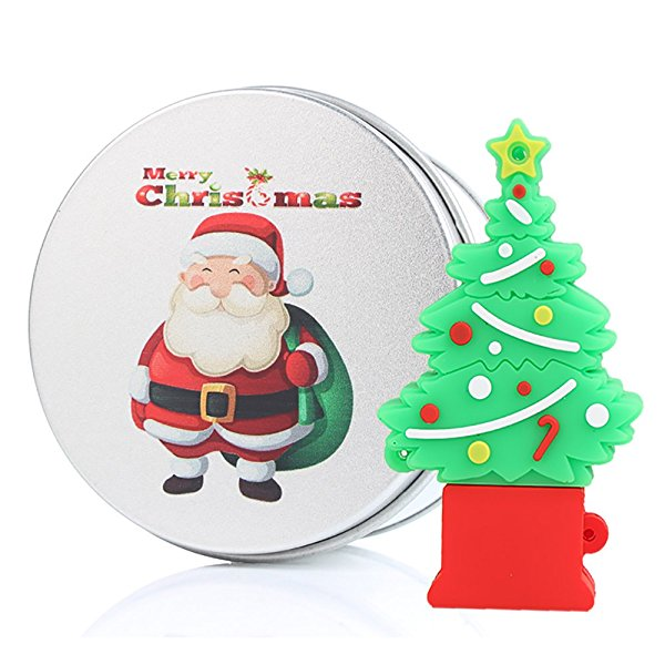 Christmas Tree Flash Memory USB Drives 16G Xmas Santa Unique Gifts Present Data Stick Storage With Metal Box