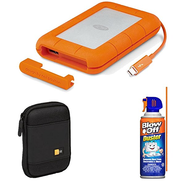 LaCie Rugged Thunderbolt & USB 3.0 2TB 9000489 With Hard Drive Case Bundle
