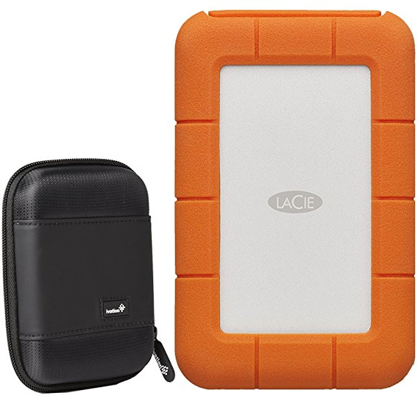 LaCie Rugged Thunderbolt USB-C 2TB Portable Hard Drive STFS2000800 and Ivation Large Hard Drive Case
