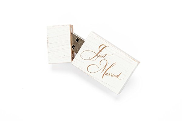 1 16GB USB 2.0 White Wash Maple Drive- Single Item - Grove Stick Body - Just Married Laser Engraved