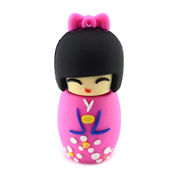 Cute Japanese Doll Design USB Flash Drive Memory stick (8GB Pink)