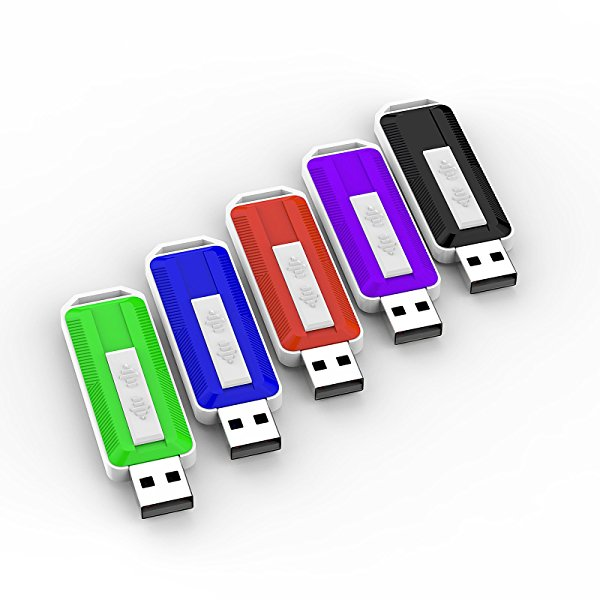 Keathy 5 Pcs 2GB USB 2.0 Flash Drive Colorful Memory stick Pen Drive (Five Mixed Color:Black,Blue,Green,Red,Purple)