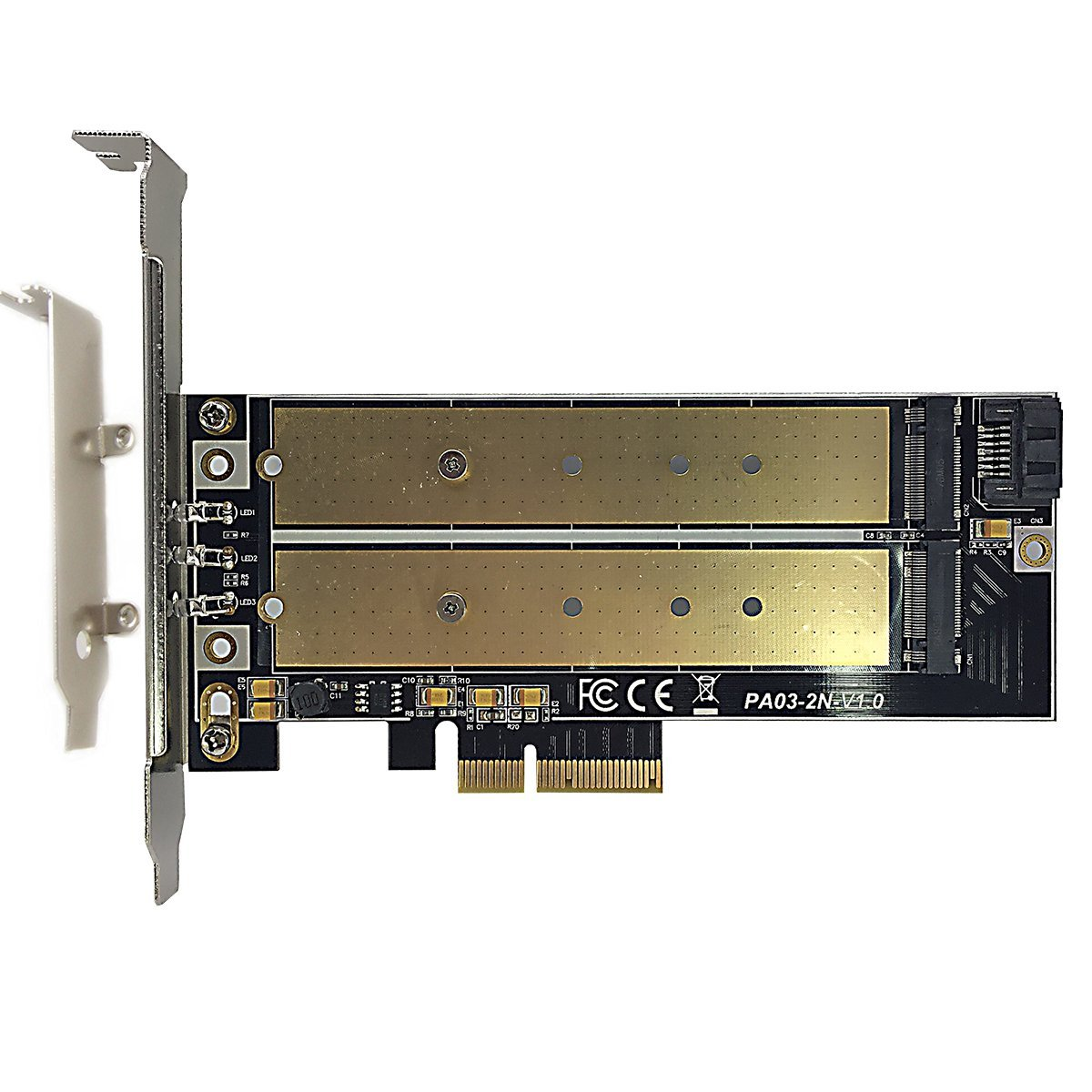 GLOTRENDS M.2 PCIe NVMe or PCIe AHCI SSD to PCIe 3.0 x4 and M.2 SATA SSD to SATA III Adapter Card (Support 22110/2280/2260/2242/2230)