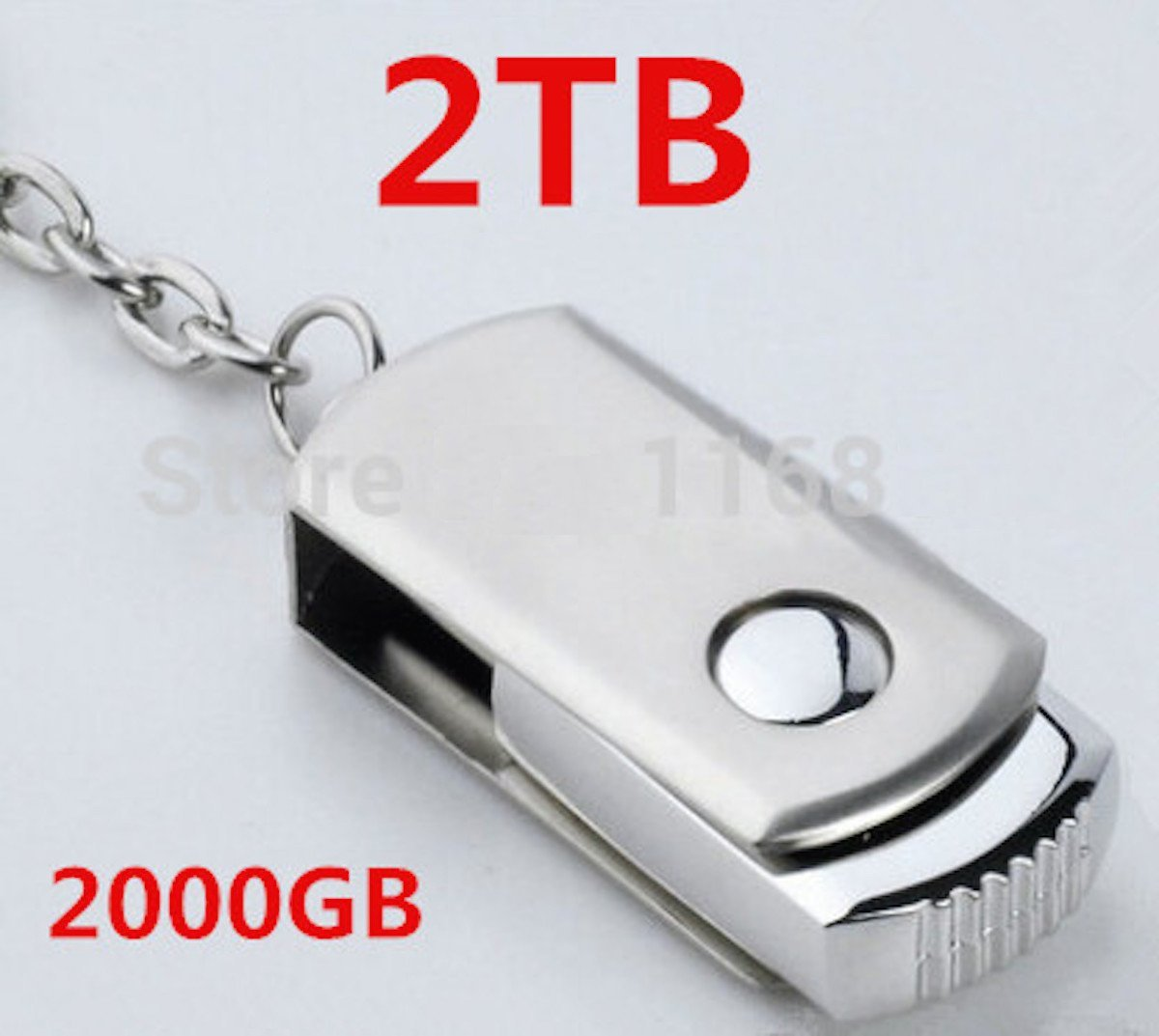 2 TB Flash Drive. Silver Color with Keychain and Build-In Protective cover. FREE Mystery Gift.