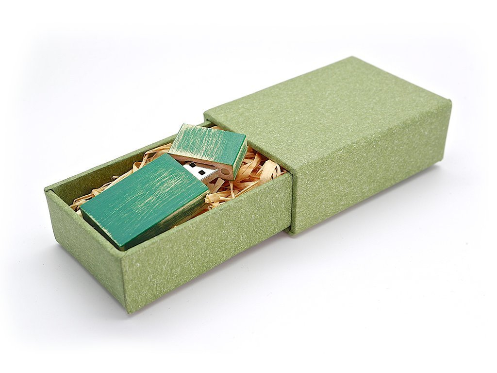 Maple Wood Antique Style 16GB Flash Drive - Natural Eco Vintage Collection USB 2.0 16 GB Thumb Drive - Stained in Green - Inserted into Super strong hand made paper box with Raffia grass inside