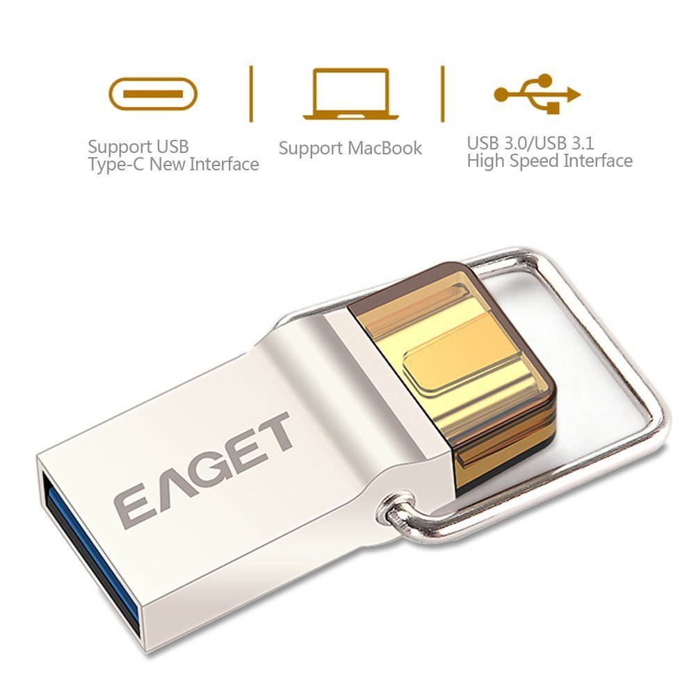 Eaget CU 10 Type C OTG USB 3.0 High Speed Flash Drive for Cell Phones and Tablet PCs,Water Resistant,Shock Resistant,Compact Size,64GB