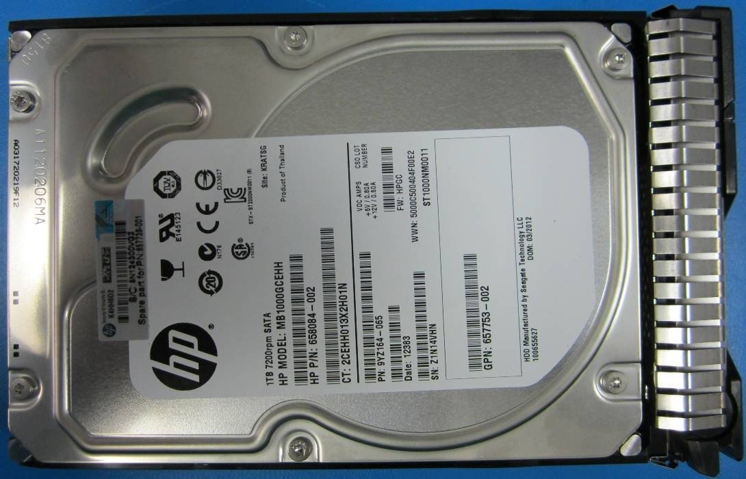 HP 657739-001 HP/WD 1TB 7200rpm 64MB Cache 3.5 SATA HDD Enterprise Hard Drive