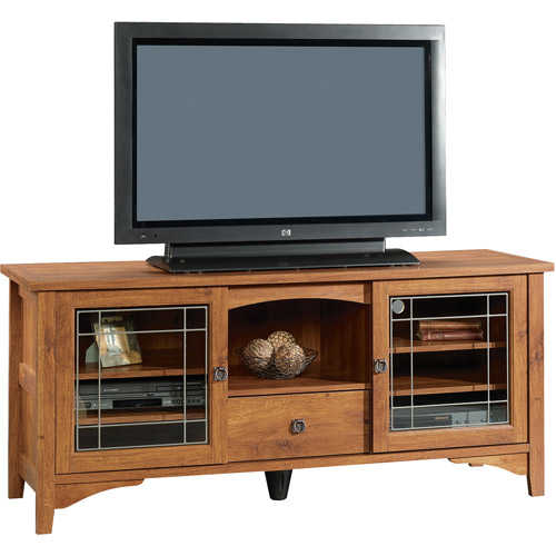 Sauder Select Entertainment Credenza for TVs up to 55', Abbey Oak Finish
