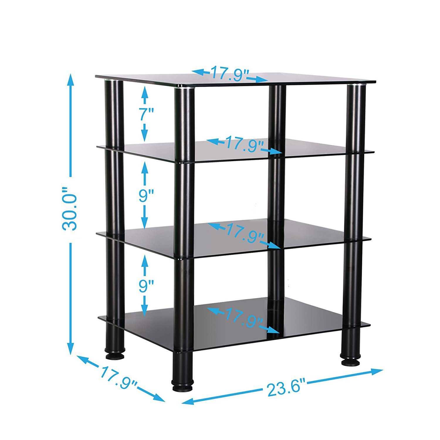 Fitueyes Av shelf Media Component TV Stand Audio Cabinet with Glass Shelf 4-tier F1AS406001GB