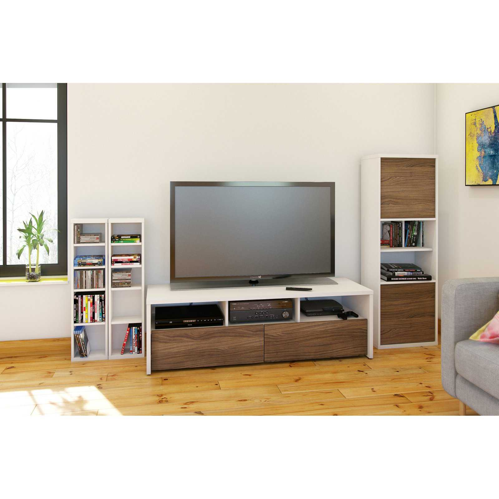 Liber-T White/Walnut TV Stand, for TVs up to 60'