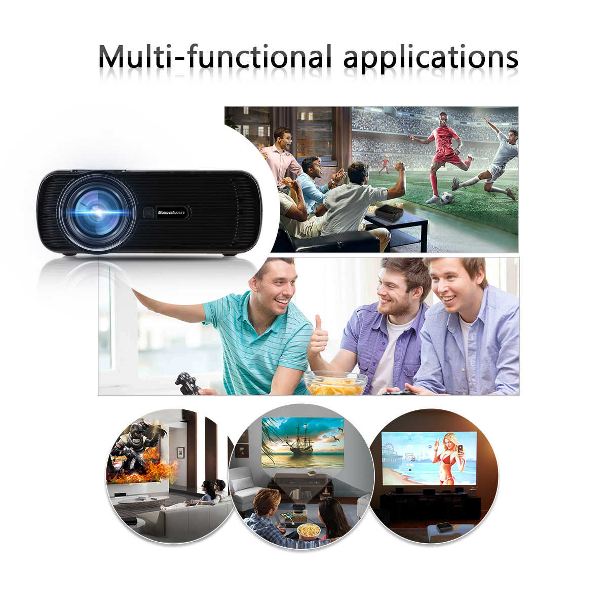 Excelvan 1500 Lumens Portable Mini Multimedia LCD Projector for Indoor Outdoor Home Cinema Theater, Office, Classroom