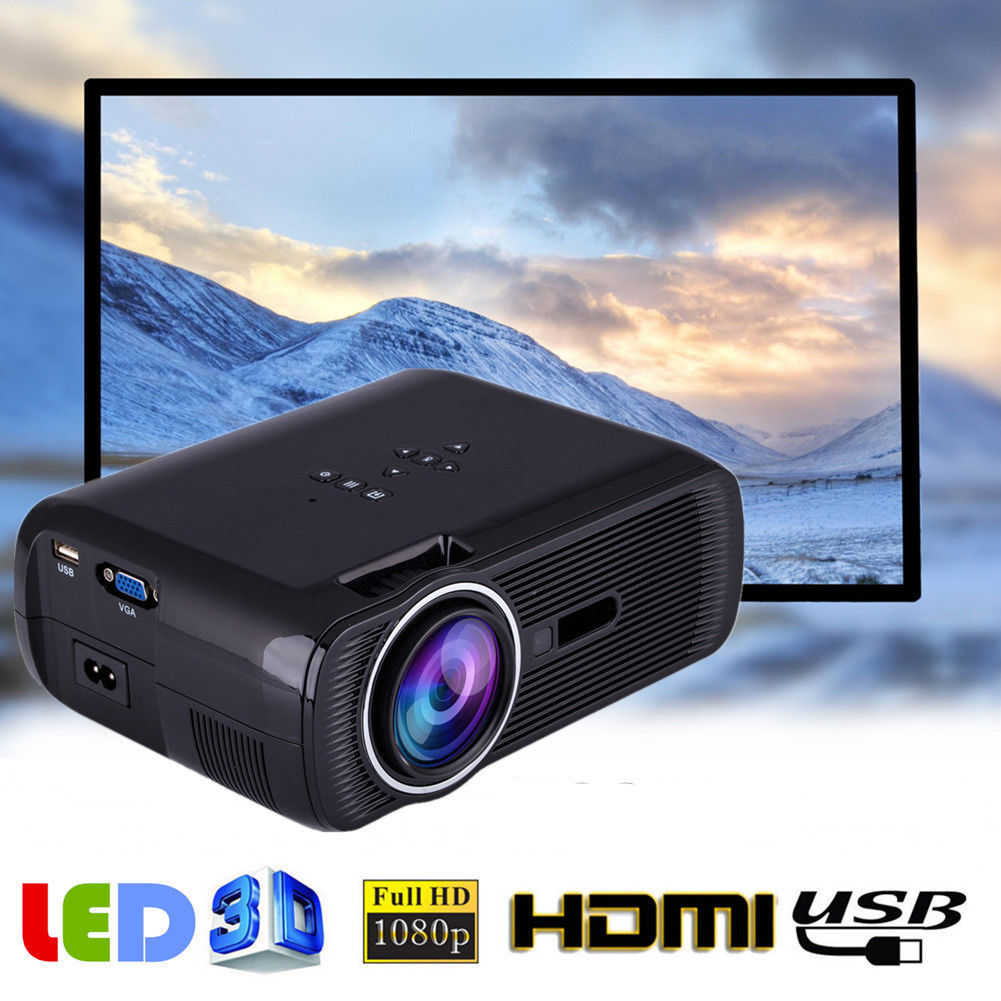 Projector on sale Portable 2300Lumen HD 3D LED Projector Home Cinema Theater VGA USB AV HDMI BL-80