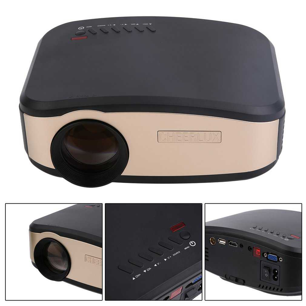 Mini Portable LCD Display HD LED Projector Home Theater 1200 LM Contrast 1200: 1 Support 720p 1080P C6 US Plug