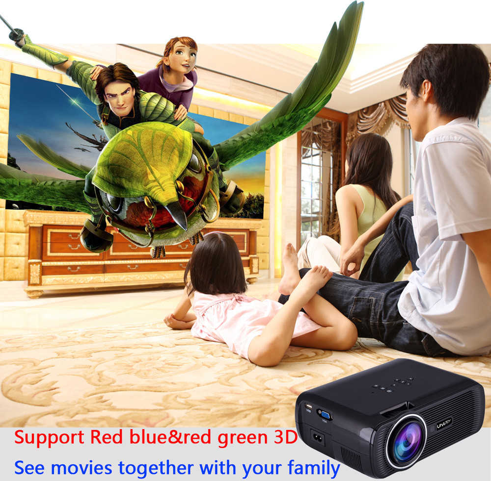 DZT1968 1000lumens 1080PMultimedia Portable HD LED Projector Home Theater Projector